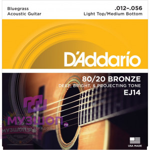D'ADDARIO EJ14 стр. для акуст. гит., бронза, 80/20, Bluegrass: Light Top/Meddium Bottom, 12-56
