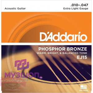 D'ADDARIO EJ15 стр. для акуст. гит., фосфор/бронза, Extra Light, 10-47